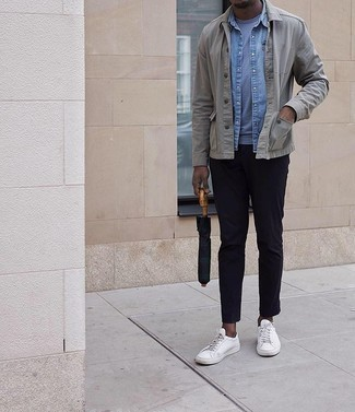 Grey Shirt Jacket Outfits For Men: We're loving how this classic and casual combination of a grey shirt jacket and navy chinos instantly makes any man look dapper. For times when this ensemble looks too polished, play it down by finishing off with white canvas low top sneakers.