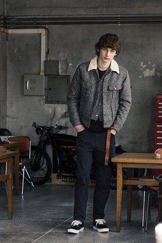 Black Jeans Outfits For Men In Their Teens: For a casual look, pair a grey wool shirt jacket with black jeans — these items play pretty good together. To give your overall getup a more casual finish, why not add black and white canvas low top sneakers to the mix? If you often wonder how to dress as a teen, this getup is a real lifesaver.