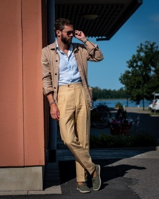 Men's Tan Linen Shirt Jacket, Light Blue Vertical Striped Short Sleeve Shirt, Khaki Dress Pants, Dark Green Canvas Espadrilles