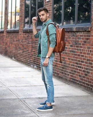 How to wear: mint shirt jacket, light blue vertical striped short sleeve shirt, light blue jeans, blue leather double monks