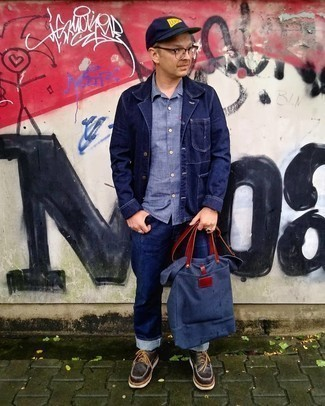 Navy Denim Shirt Jacket Outfits For Men: Dress in a navy denim shirt jacket and navy jeans to put together an interesting and modern-looking casual ensemble. To give your overall ensemble a smarter aesthetic, complete this ensemble with a pair of dark brown chunky leather derby shoes.