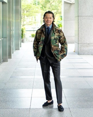 Suit Outfits: Pairing a suit with an olive camouflage shirt jacket is an amazing pick for a sharp and refined ensemble. Our favorite of a countless number of ways to finish this ensemble is with black suede tassel loafers.