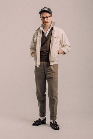 Fashion for Men Over 40: What To Wear: For a look that's nothing less than GQ-worthy, opt for a beige shirt jacket and brown dress pants. Complete this ensemble with dark brown leather tassel loafers and you're all done and looking amazing. All in all, a smart option when it comes to style tips for over-40 men.