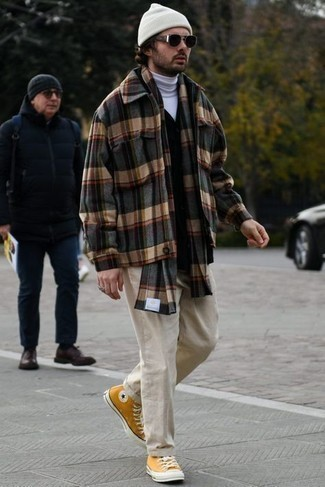 White Beanie Outfits For Men: This casual combination of a charcoal plaid flannel shirt jacket and a white beanie is a real lifesaver when you need to look cool but have zero time. Clueless about how to finish off your outfit? Wear a pair of mustard canvas high top sneakers to ramp up the classy factor.