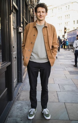 How to Wear a Grey Sweatshirt Casually For Men: Combining a grey sweatshirt with black chinos is a nice choice for a casual and cool ensemble. Complement this getup with a pair of dark green canvas low top sneakers et voila, the ensemble is complete.