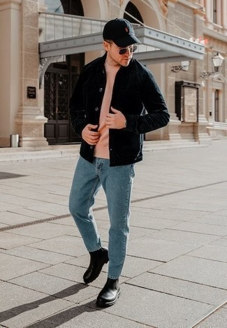 Black Shirt Jacket Outfits For Men: A black shirt jacket and light blue jeans are indispensable menswear essentials if you're picking out a casual wardrobe that matches up to the highest sartorial standards. You can take a more elegant route on the shoe front with black leather chelsea boots.