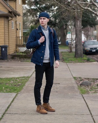Black Jeans Outfits For Men In Their 20s: Pair a navy shirt jacket with black jeans to assemble a seriously sharp and current casual outfit. A pair of brown suede casual boots will pull the whole thing together. Interested in fashion tips for young men? This combination is pretty inspiring.