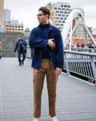 How to wear: navy wool shirt jacket, navy turtleneck, khaki cargo pants, white low top sneakers