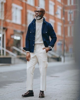 Black Leather Watch Outfits For Men: For a laid-back outfit, consider teaming a navy shirt jacket with a black leather watch — these pieces go perfectly well together. Feeling creative? Switch things up by finishing with dark brown leather tassel loafers.