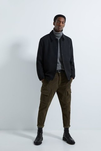 Black Leather Casual Boots Outfits For Men: A black shirt jacket and olive corduroy cargo pants are must-have menswear essentials if you're picking out a casual wardrobe that holds to the highest sartorial standards. A nice pair of black leather casual boots is the simplest way to punch up this outfit.