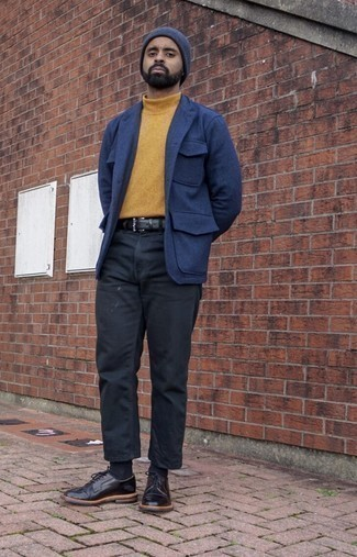 Black Leather Belt Outfits For Men: Who said you can't make a fashionable statement with a laid-back ensemble? That's easy in a blue wool shirt jacket and a black leather belt. Rounding off with black leather derby shoes is a fail-safe way to bring a bit of classiness to this look.