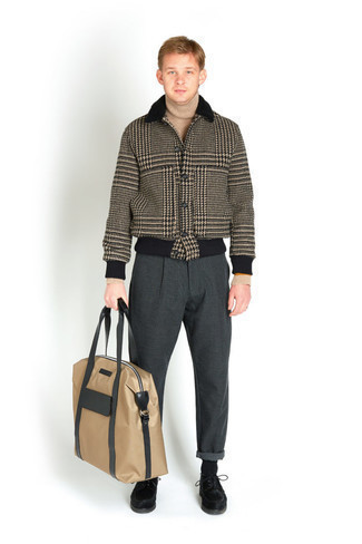 Tan Wool Turtleneck Outfits For Men: If you appreciate practical menswear, team a tan wool turtleneck with charcoal chinos. For something more on the classier side to finish off this outfit, complete your getup with a pair of black suede derby shoes.