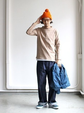 How to Wear an Orange Beanie For Men: For a casual ensemble, opt for a blue shirt jacket and an orange beanie — these two items work pretty good together. A pair of dark green canvas low top sneakers easily revs up the wow factor of your ensemble.