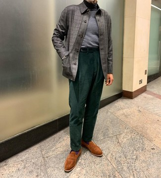 How to wear: grey check shirt jacket, grey turtleneck, dark green corduroy dress pants, tobacco suede loafers