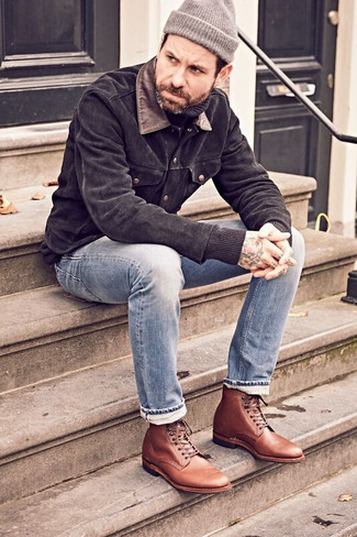 How to Wear Brown Leather Dress Boots For Men: Infuse style into your daily casual lineup with a black suede shirt jacket and light blue jeans. To give your overall look a sleeker finish, complete this getup with a pair of brown leather dress boots.