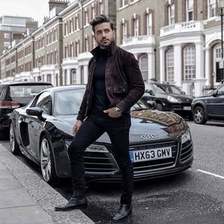 How to Wear Black Leather Chelsea Boots For Men: Such essentials as a dark brown suede shirt jacket and navy jeans are an easy way to introduce played down dapperness into your casual wardrobe. And if you need to instantly rev up your ensemble with one single piece, complete this getup with a pair of black leather chelsea boots.