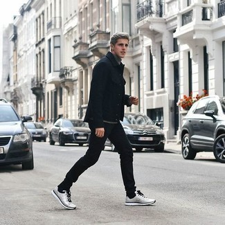 Black Shirt Jacket Outfits For Men: Demonstrate that no-one does casual quite like you do by wearing a black shirt jacket and black jeans. Let your sartorial expertise truly shine by rounding off this look with a pair of silver athletic shoes.