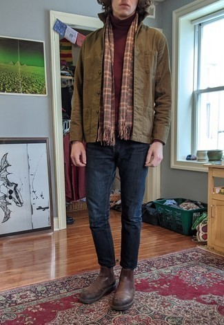 Olive Shirt Jacket Outfits For Men: If you enjoy practical style, choose an olive shirt jacket and navy jeans. A pair of brown leather chelsea boots easily boosts the fashion factor of this outfit.