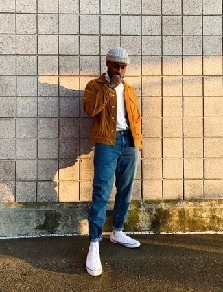 White Beanie Outfits For Men: A tobacco corduroy shirt jacket and a white beanie are a cool go-to combo to keep in your casual wardrobe. Let your outfit coordination skills truly shine by finishing this look with a pair of white canvas high top sneakers.