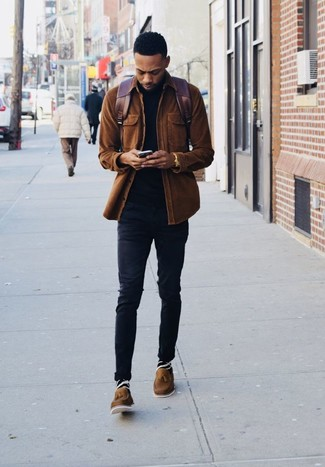 How to Wear Brown Leather Tassel Loafers: Why not reach for a brown corduroy shirt jacket and black skinny jeans? As well as super comfortable, both items look great worn together. For a classier take, add brown leather tassel loafers to your outfit.