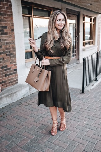 How to wear: olive shirtdress, brown suede gladiator sandals, brown leather tote bag, tan leather belt