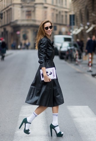 How to wear: black leather shirtdress, dark green suede heeled sandals, white and black print clutch, white socks