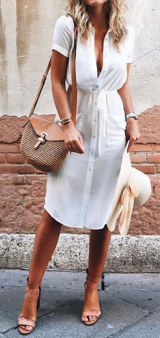 How to wear: white shirtdress, tan leather heeled sandals, brown straw crossbody bag, beige straw hat