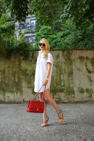 This combo of a white shirtdress and a red quilted leather satchel bag is perfect for off-duty occasions. Dress up this look with multi colored leather heeled sandals. Ideal for summer, this combo will gain quite a few likes on the 'gram too.