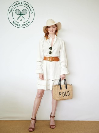 How to wear: white eyelet shirtdress, brown leather heeled sandals, tan straw tote bag, beige wool hat