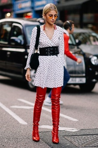 How to wear: white and black polka dot shirtdress, red leather over the knee boots, black fur crossbody bag, black waist belt