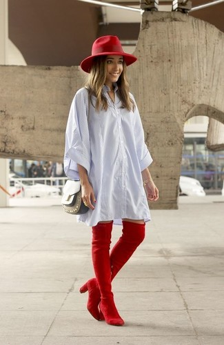 How to wear: light blue vertical striped shirtdress, red suede over the knee boots, olive leather crossbody bag, red wool hat
