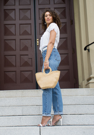How to wear: white lace short sleeve blouse, blue boyfriend jeans, white leather heeled sandals, white woven leather belt