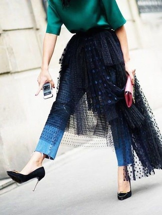 How to wear: green short sleeve blouse, black mesh midi skirt, blue jeans, black suede pumps