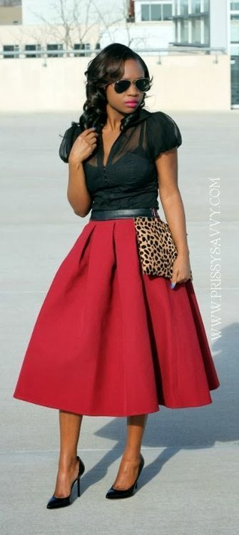 How to Wear a Red Midi Skirt (29 looks) | Women's Fashion