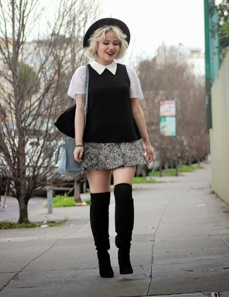 Reach for a black and white short sleeve blouse and a grey tweed mini skirt to achieve a chic look. Black suede knee high boots are a nice choice to complete the look.