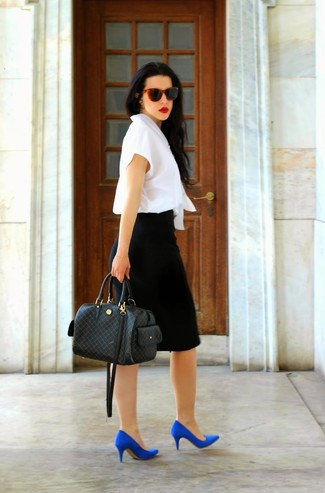 Women's White Short Sleeve Blouse, Black Pencil Skirt, Blue Suede Pumps, Black Check Leather Tote Bag
