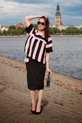 How to wear: pink and black vertical striped short sleeve blouse, black print pencil skirt, black suede pumps, clear clutch
