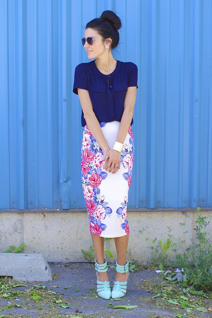How to Wear a White Floral Pencil Skirt (10 looks) | Women's Fashion