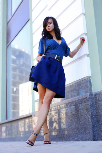 How to wear: blue short sleeve blouse, blue skater skirt, black studded leather heeled sandals, black leather crossbody bag