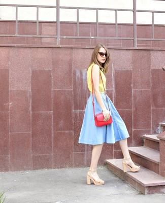 How to wear: yellow short sleeve blouse, light blue denim skater skirt, beige leather heeled sandals, red leather crossbody bag