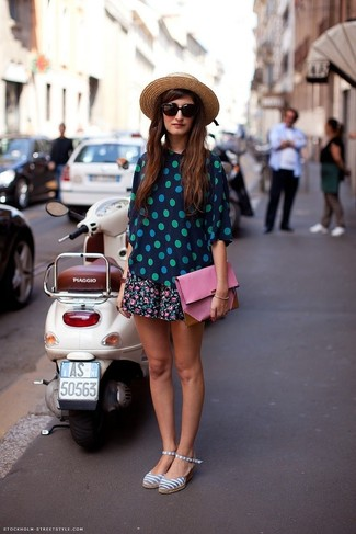 How to wear: navy and green polka dot short sleeve blouse, black floral skater skirt, grey horizontal striped canvas sandals, pink leather clutch