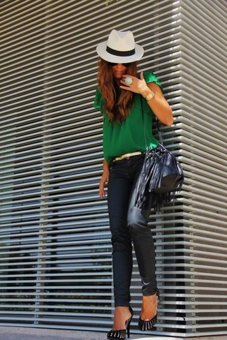 A green short sleeve blouse and black leather skinny jeans is a versatile combination that will provide you with variety. Black and gold suede pumps will instantly smarten up even the laziest of looks.