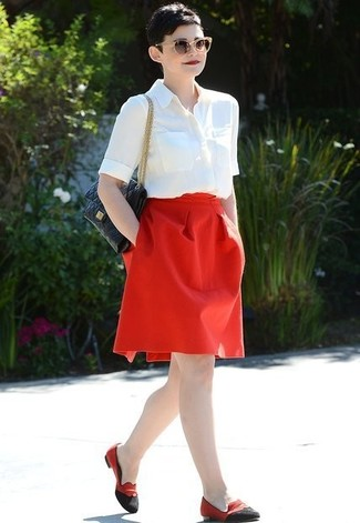 Rock a white short sleeve button down shirt with a red full skirt to bring out the stylish in you. For the maximum chicness go for a pair of red and black suede loafers.