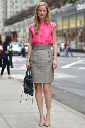A hot pink short sleeve button down shirt and a metallic pencil skirt paired together are a total eye candy for those who prefer classy styles. Look at how well this ensemble is complemented with grey suede pumps. Stick with this one if you're on a mission for a standout summertime outfit.