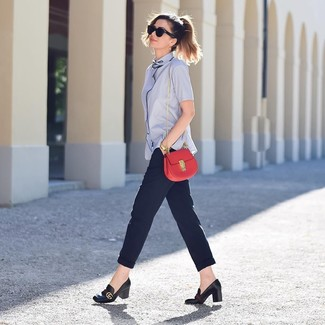 How to wear: light blue short sleeve button down shirt, navy tapered pants, black leather pumps, red leather crossbody bag