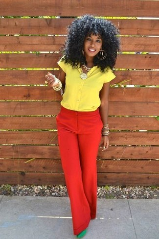 How to wear: yellow short sleeve button down shirt, red wide leg pants, green suede pumps, gold bracelet