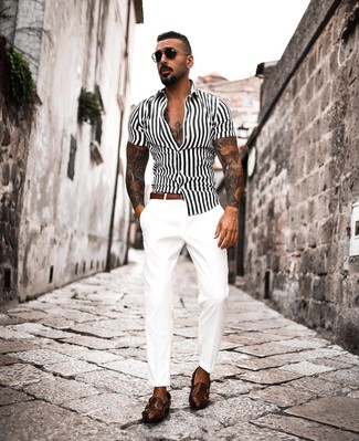 How to wear: white and black vertical striped short sleeve shirt, white chinos, dark brown leather double monks, brown leather belt