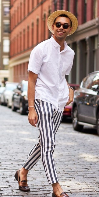 72bf814106 How to Wear Black and White Vertical Striped Chinos (10 looks ...