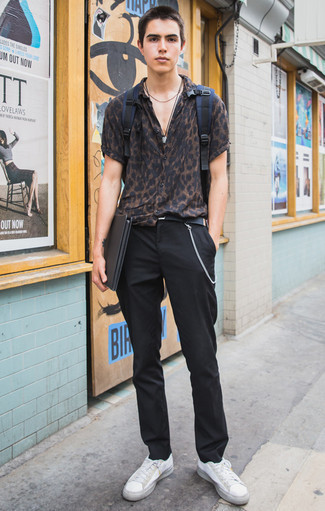 How to Wear a Black Canvas Belt For Men: This is undeniable proof that a dark brown leopard short sleeve shirt and a black canvas belt are awesome together in a city casual outfit. Add white canvas low top sneakers to the mix for an added touch of style.