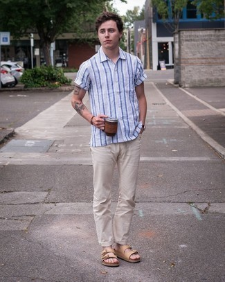 Brown Bracelet Outfits For Men: If the setting permits a casual getup, consider wearing a white and blue vertical striped short sleeve shirt and a brown bracelet. A pair of tan leather sandals easily amps up the wow factor of this getup.